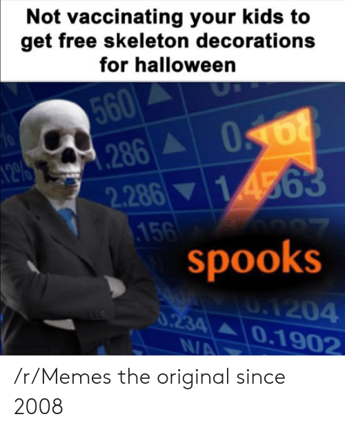 decorations: Not vaccinating your kids to  get free skeleton decorations  for halloween  560  286A  2.286 14563  .156  spooks  70  0.1204  0.234 0.1902  N/A /r/Memes the original since 2008