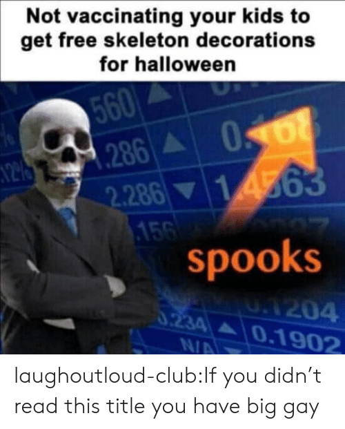decorations: Not vaccinating your kids to  get free skeleton decorations  for halloween  560  N2 286 068  2.28614563  156  spooks  UA204  0234 0.1902  0.234  N/A laughoutloud-club:If you didn't read this title you have big gay