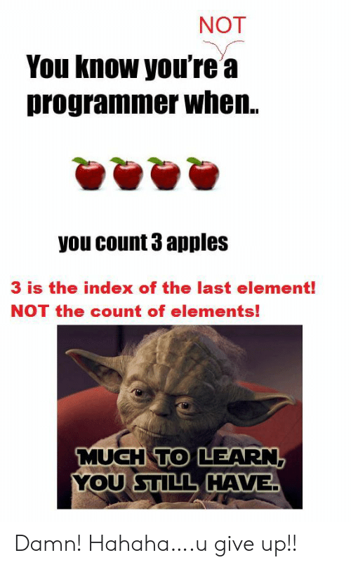 Index, Elements, and Element: NOT  You know you're a  programmer when..  you count 3 apples  3 is the index of the last element!  NOT the count of elements!  MUCH TO LEARN,  YOU STILL HAVE Damn! Hahaha….u give up!!