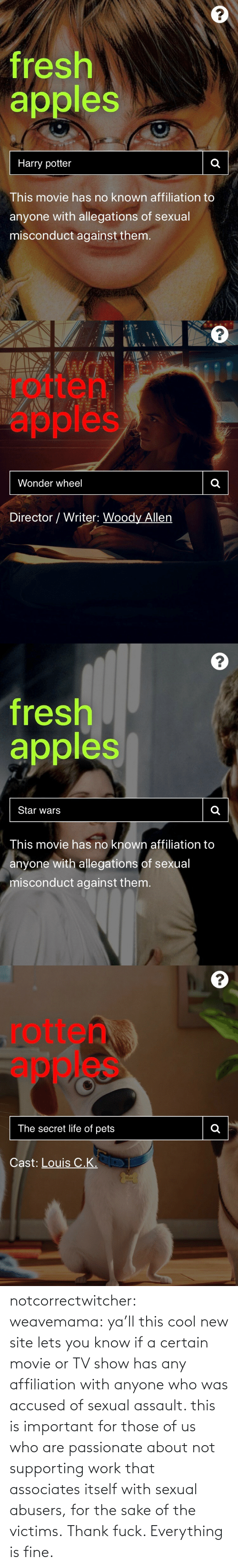 /tv/ : notcorrectwitcher:  weavemama: ya'll this cool new site lets you know if a certain movie or TV show has any affiliation with anyone who was accused of sexual assault. this is important for those of us who are passionate about not supporting work that associates itself with sexual abusers, for the sake of the victims.   Thank fuck. Everything is fine.