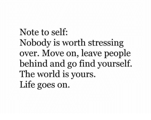 life goes on: Note to self:  Nobody is worth stressing  over. Move on, leave people  behind and go find yourself.  The world is vours.  Life goes on.