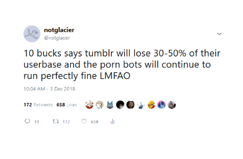 "Run, Tumblr, and Porn: notglacier  @notglacier  10 bucks says tumblr will lose 30-50% of their  userbase and the porn bots will continue to  run perfectly fine LMFAO  10:04 AM-3 Dec 2018  (3 부@匑""  172 Retweets 658 Likes  011 ロ172。658 11"
