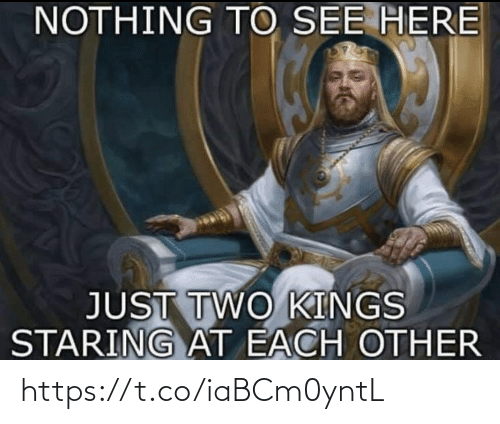 Memes, 🤖, and Kings: NOTHING TO SEE HERE  JUST TWO KINGS  STARING AT EACH OTHER https://t.co/iaBCm0yntL
