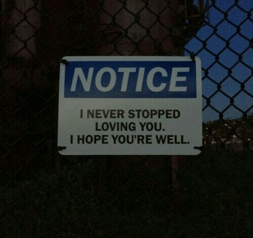 Hope, Never, and You: NOTICE  I NEVER STOPPED  LOVING YOU.  I HOPE YOU'RE WELL.