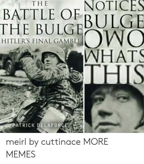 Dank, Memes, and Target: NOTICES  BULGE  THE  BATTLE OF  THE BULG  HITLER'S FINAL GAMBLE  WHAT  HIS  ATRICK DELAFORG meirl by cuttinace MORE MEMES