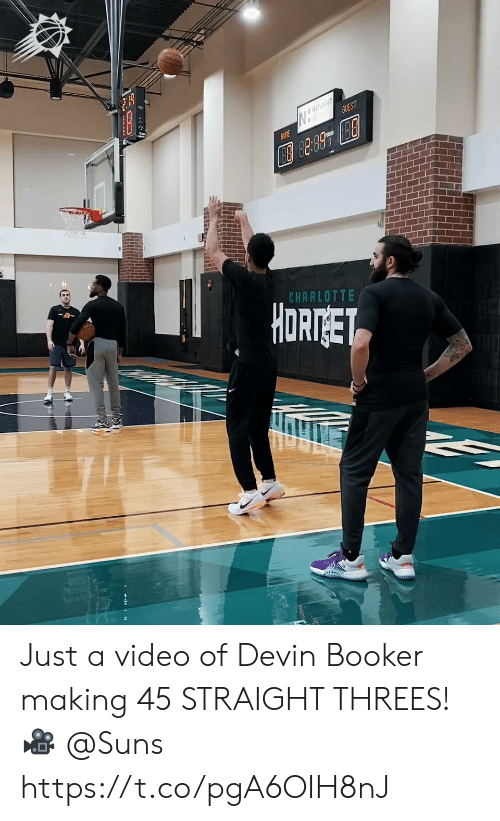 Charlotte: NOVANT  GUEST  AME  CHARLOTTE  HORTGET Just a video of Devin Booker making 45 STRAIGHT THREES!   🎥 @Suns https://t.co/pgA6OIH8nJ