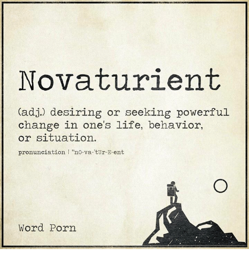 "Life, Porn, and Word: Novaturient  (adj.) desiring or seeking powerful  change in one's life, behavior,  or situation.  pronunciation I ""no-va-tUr-E-ent  Word Porn"
