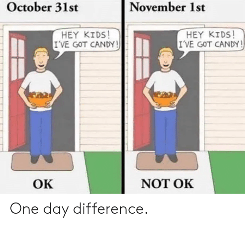 Candy, Kids, and Got: November 1st  October 31st  HEY KIDS  I'VE GOT CANDY!  HEY KIDS!  I'VE GOT CANDY!  NOT OK  ОК One day difference.