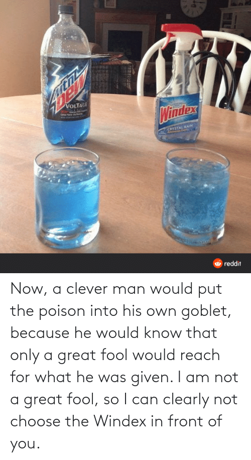 Am Not: Now, a clever man would put the poison into his own goblet, because he would know that only a great fool would reach for what he was given. I am not a great fool, so I can clearly not choose the Windex in front of you.