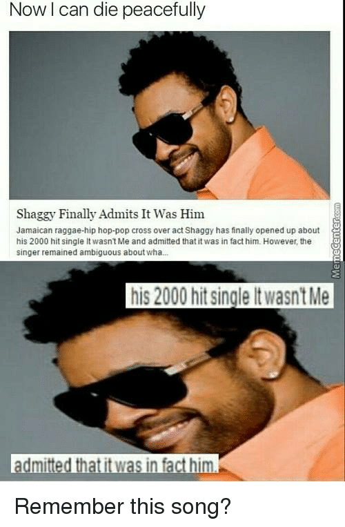 Ambiguity: Now can die peacefully  Shaggy Finally Admits It Was Him  Jamaican raggae-hip hop-pop cross over act Shaggy has finally opened up about  his 2000 hit single lt wasn't Me and admitted that it was in fact him. However, the  singer remained ambiguous about wha  his 2000 hitsingleltwasntMe  dmitted that it was in fact him Remember this song?