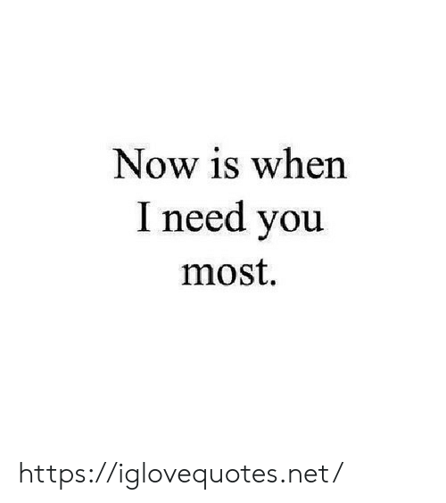 Net, You, and Now: Now is when  I need you  most. https://iglovequotes.net/