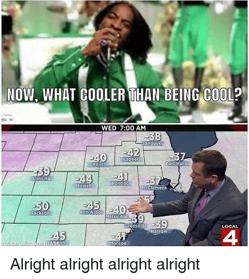 Funny, Cool, and Metro: NOW. WHAT COOLER THAN BEING COOL?  C00  WED 7:00 AM  Sandusky  2  7  Lapeer  Flint  Port Huron  9  Lansing  Pontiac  Howell  Mt Clemens  Jackson  Ann Arbor  Metro Apt  Gr  ossollo  LOCAL  Harrow  5  ゴ▲  Monroo  4 Alright alright alright alright