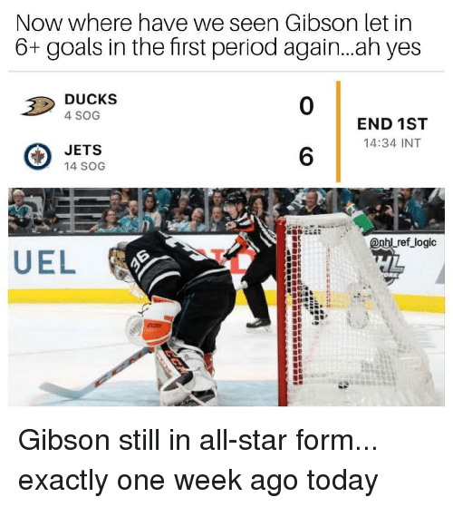 All Star, Goals, and Logic: Now where have we seen Gibson let in  6+ goals in the first period again...ah yes  DUCKS  4 SOG  0  END 1ST  14:34 INT  JETS  14 SOG  6  Lref logic Gibson still in all-star form... exactly one week ago today