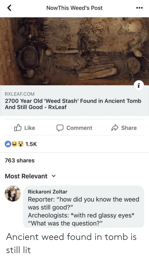 """stash: NowThis Weed's Post  RXLEAF.COM  2700 Year Old 'Weed Stash' Found in Ancient Tomb  And Still Good RxLeaf  b Like Comment Share  1.5K  763 shares  Most Relevant  Rickaroni Zoltar  Reporter: """"how did you know the weed  was still good?""""  Archeologists: *with red glassy eyes*  """"What was the question?"""" Ancient weed found in tomb is still lit"""