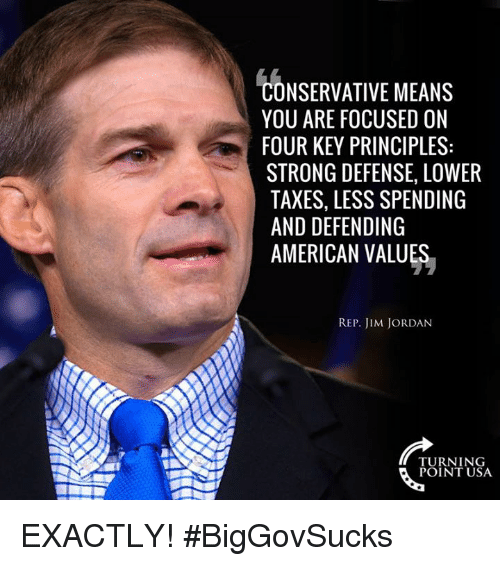 Memes, Taxes, and American: NSERVATIVE MEANS  YOU ARE FOCUSED ON  FOUR KEY PRINCIPLES:  STRONG DEFENSE, LOWER  TAXES, LESS SPENDING  AND DEFENDING  AMERICAN VALUES  REP. JIM JORDAN  TURNING  POINT USA EXACTLY! #BigGovSucks