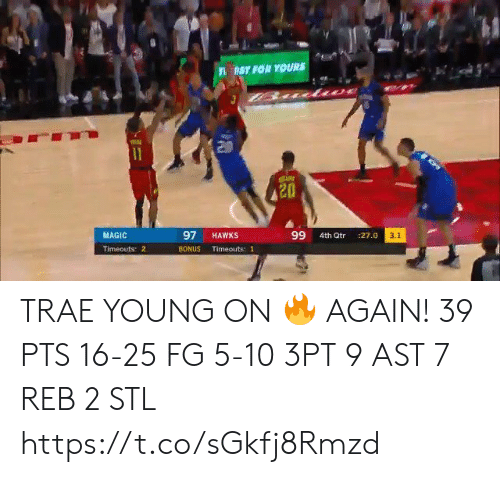 3 1: nST FOR YOURS  11  97  99  MAGIC  HAWKS  3.1  4th Qtr  :27.0  Timeouts 2  BONUS  Timeouts: 1 TRAE YOUNG ON 🔥 AGAIN!   39 PTS 16-25 FG 5-10 3PT 9 AST 7 REB 2 STL   https://t.co/sGkfj8Rmzd