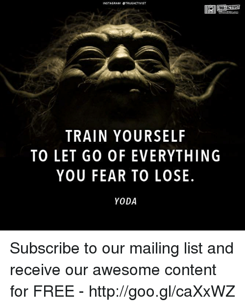 Memes, Yoda, and Free: NSTAGRAM STRUEACTIVIST  TRAIN YOURSELF  TO LET GO OFEVERYTHING  YOU FEAR TO LOSE.  YODA Subscribe to our mailing list and receive our awesome content for FREE - http://goo.gl/caXxWZ