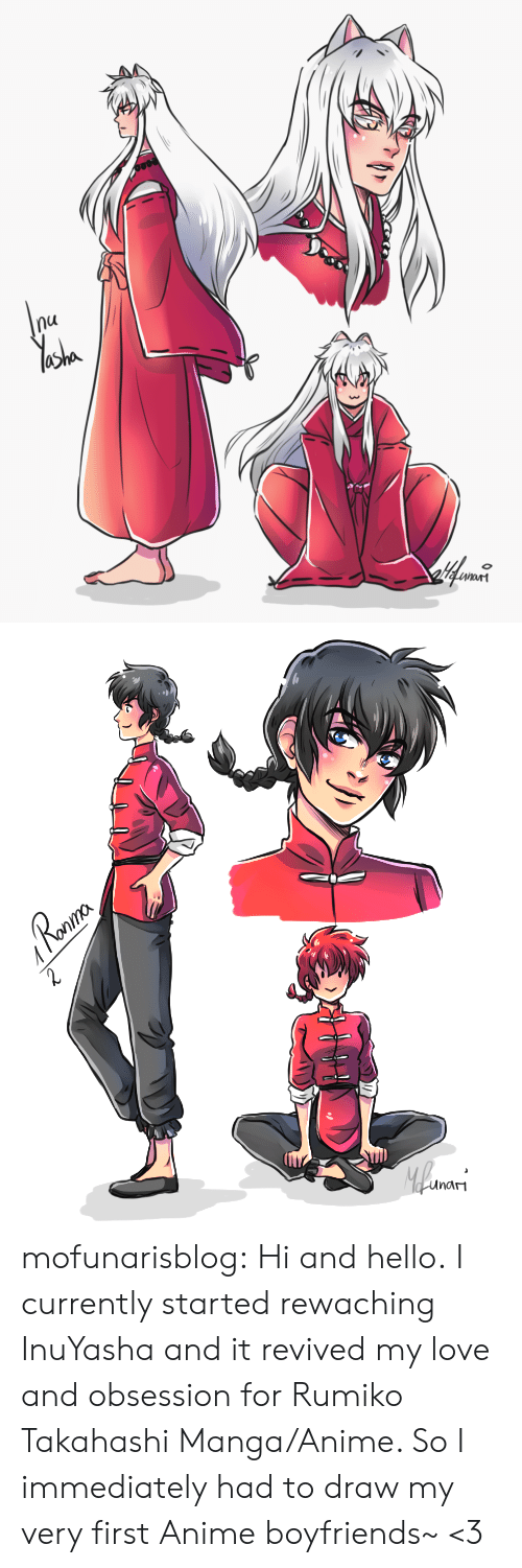 Anime, Hello, and Love: nu   Ronma  Roaur  2  Mlwars  unam mofunarisblog:  Hi and hello.I currently started rewaching InuYasha and it revived my love and obsession for Rumiko Takahashi Manga/Anime. So I immediately had to draw my very first Anime boyfriends~ <3