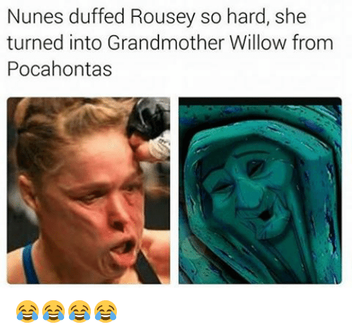 Pocahontas, Girl Memes, and Willow: Nunes duffed Rousey so hard, she  turned into Grandmother Willow from  Pocahontas 😂😂😂😂