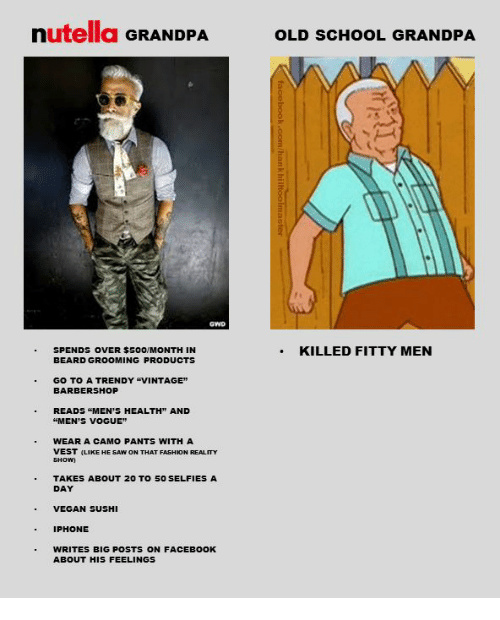 "Nutellas: nutella GRANDPA  OLD SCHOOL GRANDPA  SPENDS OVER $500/MONTH IN  BEARD GROOMING PRODUCTS  .KILLED FITTY MEN  GO TO A TRENDY ""VINTAGE""  BARBERSHOP  READS ""MEN'S HEALTH"" AND  ""MEN'S VOGUE  WEAR A CAMO PANTS WITH A  VEST (LIKE HE SAW ON THAT FASHION REALITY  TAKES ABOUT 20 TO 5O SELFIES A  DAY  VEGAN SUSHI  IPHONE  WRITES BIG POSTS ON FACEBOOK  ABOUT HIS FEELINGS"