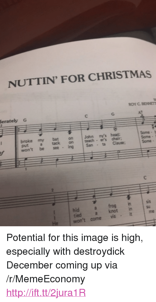 """Christmas, Head, and Http: NUTTIN FOR CHRISTMAS  ROY C.BENET  erately G  broke my bat on John ny's head:  put a tack on teach er's chair;  Some t  Some I  won't be see ing San ta Clause: Some  hid a frog insis  tied a knot in  su  me  He won't come vis <p>Potential for this image is high, especially with destroydick December coming up via /r/MemeEconomy <a href=""""http://ift.tt/2jura1R"""">http://ift.tt/2jura1R</a></p>"""