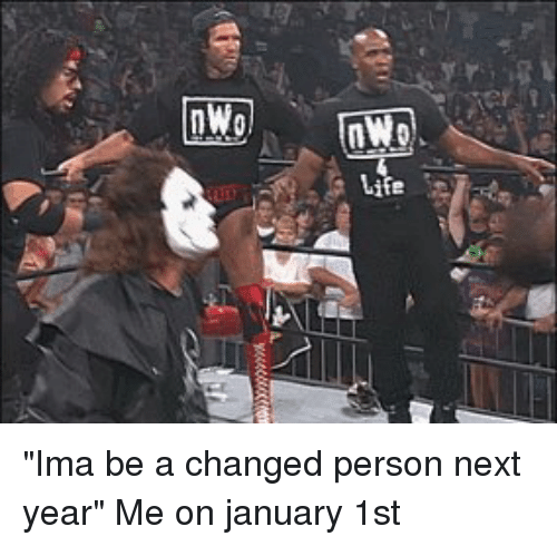 "nwo: nWo ""Ima be a changed person next year"" Me on january 1st"