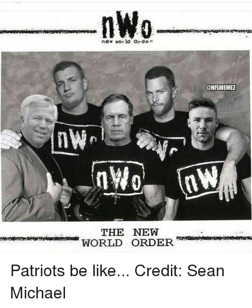 nwo: nWo  new world order  THE NEW  WORLD ORDER  ONFIMEMEZ Patriots be like... Credit: Sean Michael