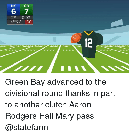 Rodgering: NY  GB  6 7  ND  0:02  TH  2 :00 Green Bay advanced to the divisional round thanks in part to another clutch Aaron Rodgers Hail Mary pass @statefarm