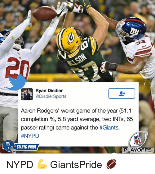Rodgering: ny  Ryan Disdier  @Disdier Sports  Aaron Rodgers' worst game of the year (51.1  completion 5.8 yard average, two INTs, 65  passer rating) came against the thGiants.  #NYPD  NFL  GIANTS PRIDE  PLAYOFFS NYPD 💪 GiantsPride 🏈