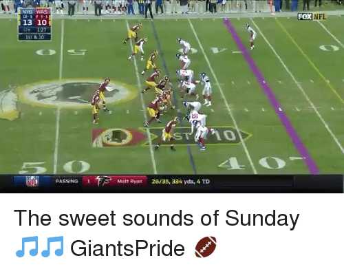 Memes, Nfl, and Sunday: NY WAS  FOX NFL  13 10  H 1:27  ST & 10  PASSING1  Matt Ryan  26/35, 334 yds, 4 TD The sweet sounds of Sunday 🎵🎵 GiantsPride 🏈