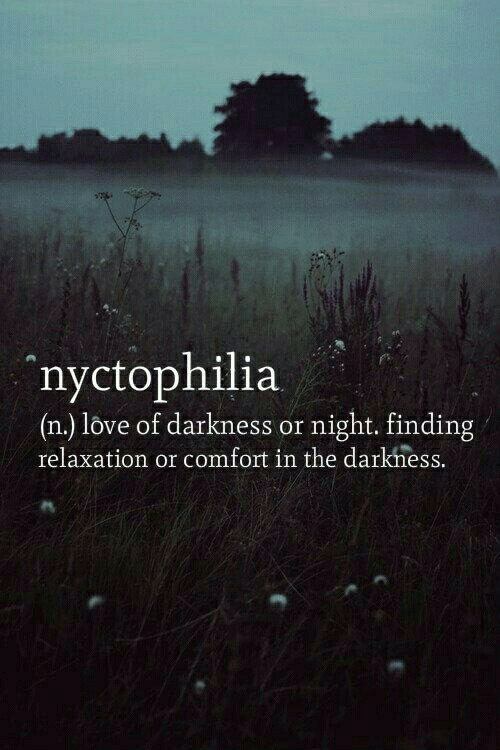 relaxation: nyctophilia  (n.) love of darkness or night. finding  relaxation or comfort in the darkhess.
