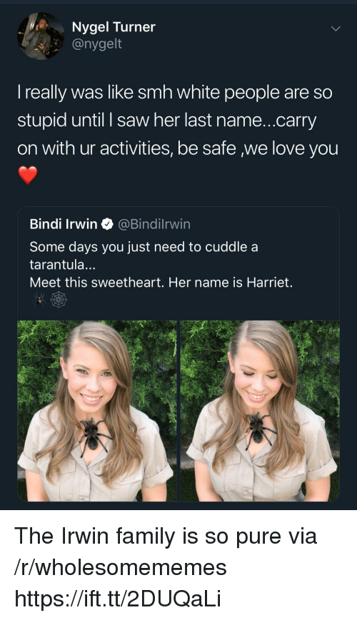 Family, Love, and Saw: Nygel Turner  @nygelt  I really was like smh white people are so  stupid until I saw her last name...carry  on with ur activities, be safe we love you  Bindi Irwin@Bindilrwin  Some days you just need to cuddle a  tarantula...  Meet this sweetheart. Her name is Harriet. The Irwin family is so pure via /r/wholesomememes https://ift.tt/2DUQaLi