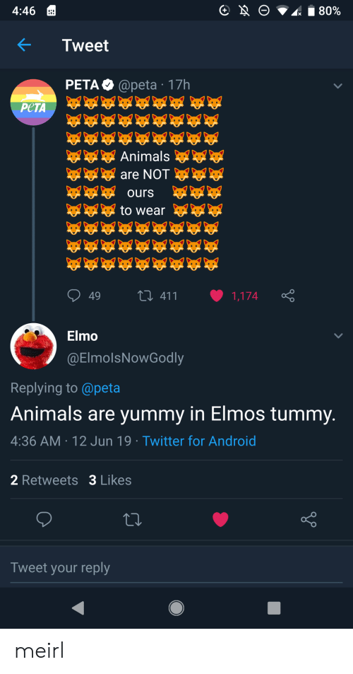 Elmo: O  80%  4:46  Tweet  PETA @peta 17h  РЕТА  Animals  are NOT  ours  to wear  L411  49  1,174  Elmo  @ElmolsNowGodly  Replying to @peta  Animals are yummy in Elmos tummy.  4:36 AM 12 Jun 19 Twitter for Android  2 Retweets 3 Likes  Tweet your reply meirl