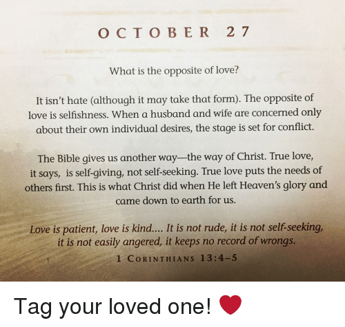 O C T O BER 2 7 What Is the Opposite of Love? It Isn't Hate