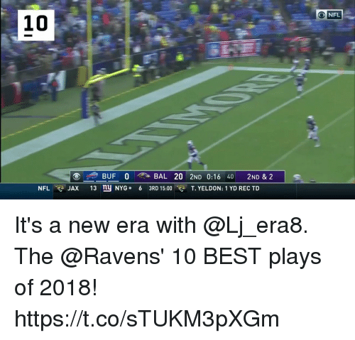 Memes, Nfl, and Best: O NFL  10  BUF 0  BAL 20 2ND 0:16 40 2ND & 2  13  NYG .  6  3RD 15:00  T. YELDON: 1 YD REC TD  NFL  p JAX It's a new era with @Lj_era8.  The @Ravens' 10 BEST plays of 2018! https://t.co/sTUKM3pXGm