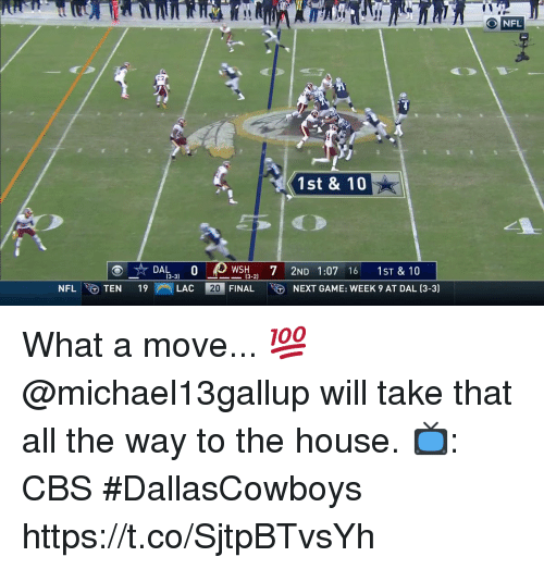 Memes, Nfl, and Cbs: O NFL  1st & 10  DA0  WSH7 2ND 1:07 16 1ST & 10  3-3)  X3-2)  NFLTEN 19LAC 2  20 FIN  ALNEXT GAME: WEEK 9 AT DAL (3-3) What a move... 💯  @michael13gallup will take that all the way to the house.   📺: CBS #DallasCowboys https://t.co/SjtpBTvsYh