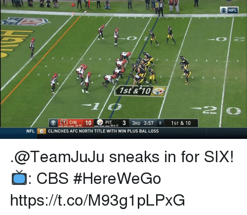 Afc North: O NFL  1st & 10E  PIT 33RD 3:57 8 1ST & 10  (6-9)  NFLCLINCHES AFC NORTH TITLE WITH WIN PLUS BAL LOSS .@TeamJuJu sneaks in for SIX!  📺: CBS #HereWeGo https://t.co/M93g1pLPxG