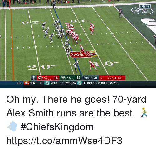 Drake, Memes, and Nfl: O NFL  2nd  2 0  KC14Y 14 2ND 5:28 5 2ND & 10  (4-71  DEN3  MIA+  16 2ND 3:14  K. DRAKE: 11 RUSH, 45 YDS Oh my. There he goes!  70-yard Alex Smith runs are the best. 🏃💨 #ChiefsKingdom https://t.co/ammWse4DF3