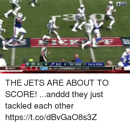 arie: O NFL  95  NYJ 0 BUF 0 1ST 8:54 25 3RD & GOAL  1st ARI LFITZGERALD REG, 4 YDS  DURECT  7 0  RZC THE JETS ARE ABOUT TO SCORE!   ...anddd they just tackled each other https://t.co/dBvGaO8s3Z