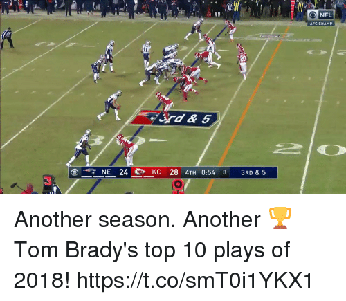 Memes, Nfl, and 🤖: O NFL  AFC CHAMP  rd&5  NE KC 28 4TH 0:54  3RD & 5  3 Another season. Another 🏆  Tom Brady's top 10 plays of 2018! https://t.co/smT0i1YKX1
