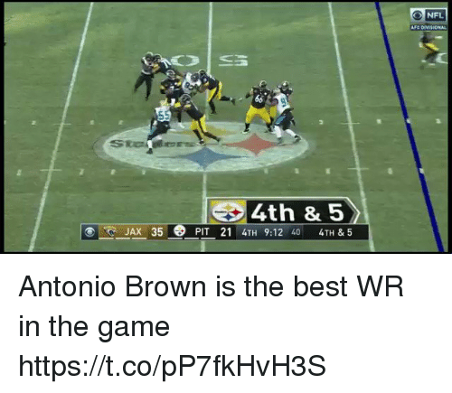 Nfl, The Game, and Best: O NFL  AFC DIVIS ONAL  4th & 5  JAX 35 PIT 21 4TH 9:12 40 4TH & 5 Antonio Brown is the best WR in the game  https://t.co/pP7fkHvH3S
