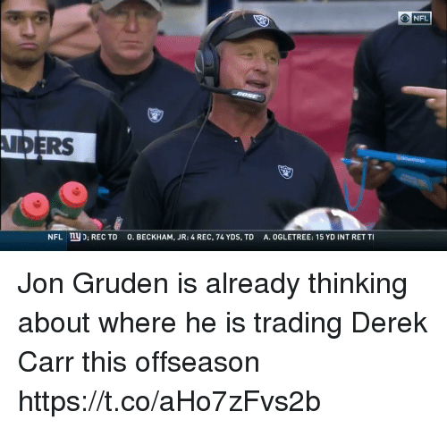 Nfl, Jon Gruden, and Rec: O NFL  IDERS  A. OGLETREE: 15 YD INT RET TI  ny D; REC TD  O. BECKHAM, JR: 4 REC, 74 YDS, TD  NFL Jon Gruden is already thinking about where he is trading Derek Carr this offseason  https://t.co/aHo7zFvs2b