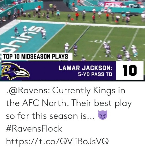 Memes, Nfl, and Best: O NFL  ins  TOP 10 MIDSEASON PLAYS  LAMAR JACKSON:  10  5-YD PASS TD .@Ravens: Currently Kings in the AFC North.   Their best play so far this season is... 😈   #RavensFlock https://t.co/QVliBoJsVQ