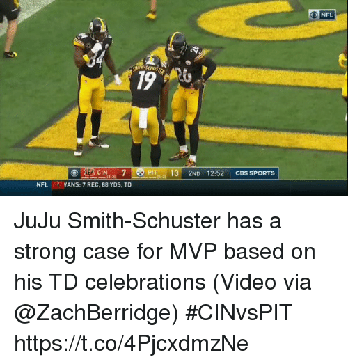 Nfl, Sports, and Cbs: O NFL  PT 13 2ND 12:52 CBS SPORTS  2-3  NFL VANS: 7 REC, 88 YDS, TD JuJu Smith-Schuster has a strong case for MVP based on his TD celebrations  (Video via @ZachBerridge) #CINvsPIT  https://t.co/4PjcxdmzNe