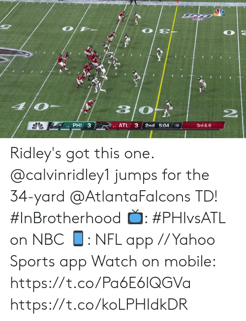 phi: O/ -  O E-  4/0  PHI 3  ATL 3  2nd 5:04  3rd & 6  :18  1-0  0-1  www. Ridley's got this one.  @calvinridley1 jumps for the 34-yard @AtlantaFalcons TD! #InBrotherhood  📺: #PHIvsATL on NBC 📱: NFL app // Yahoo Sports app Watch on mobile: https://t.co/Pa6E6lQGVa https://t.co/koLPHIdkDR