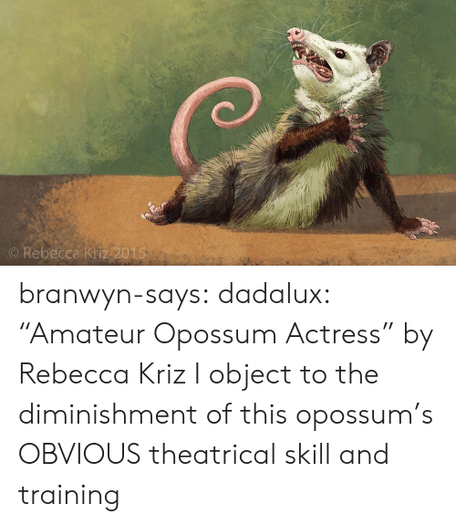 """skill: O Rebecca Kriz 2015 branwyn-says: dadalux: """"Amateur Opossum Actress"""" by Rebecca Kriz I object to the diminishment of this opossum's OBVIOUS theatrical skill and training"""