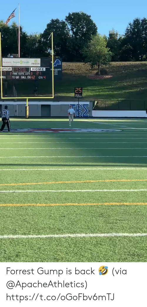 champs: o Super1 Foods  FRESH  SITOR  SO HOME  ST TE CHAMPS  21  TIME OUTS LEFT  WN  TO GO BALL ON 2 QTR.  25  Altra Forrest Gump is back 🤣 (via @ApacheAthletics) https://t.co/oGoFbv6mTJ