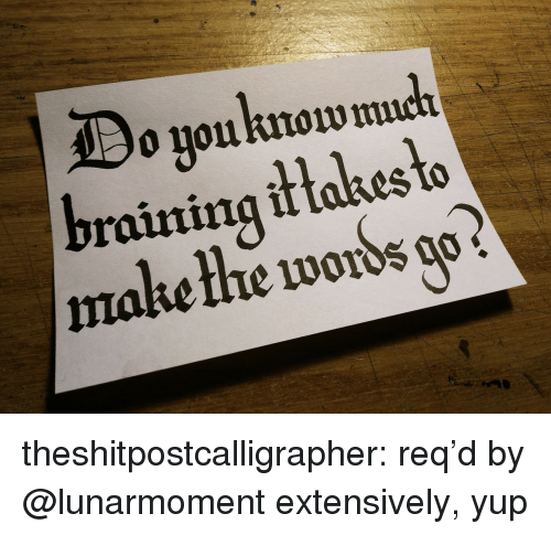Target, Tumblr, and Blog: o youknow  raining it takes to  make thhe words o theshitpostcalligrapher: req'd by @lunarmoment extensively, yup