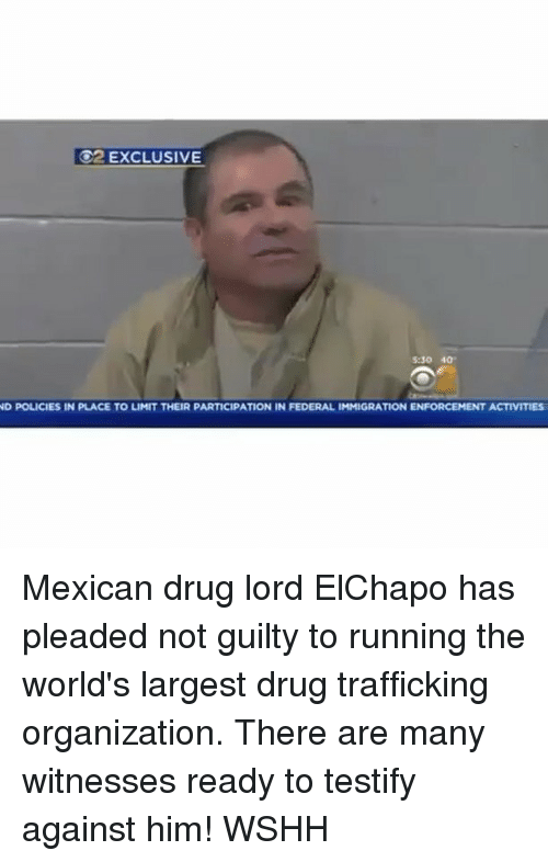 Memes, 🤖, and Federer: O2 EXCLUSIVE  530 40  ND POLICIES IN PLACE TO LIMIT THEIR PARTICIPATION IN  FEDERAL IMMIGRATION ENFORCEMENT ACTIVITIES Mexican drug lord ElChapo has pleaded not guilty to running the world's largest drug trafficking organization. There are many witnesses ready to testify against him! WSHH