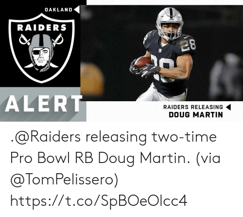 oakland: OAKLAND  DERS  RAIDERS  28  ALERT  RAIDERS RELEASING  DOUG MARTIN .@Raiders releasing two-time Pro Bowl RB Doug Martin. (via @TomPelissero) https://t.co/SpBOeOlcc4